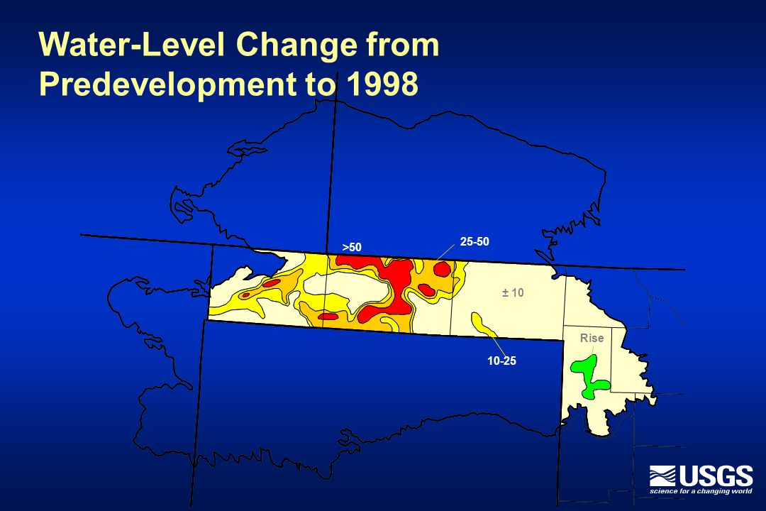 Water-Level Change from Predevelopment to 1998 10-25 ± 10 Rise >50 25-50