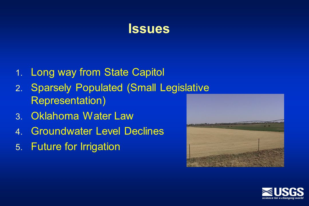 Issues 1. Long way from State Capitol 2. Sparsely Populated (Small Legislative Representation) 3.