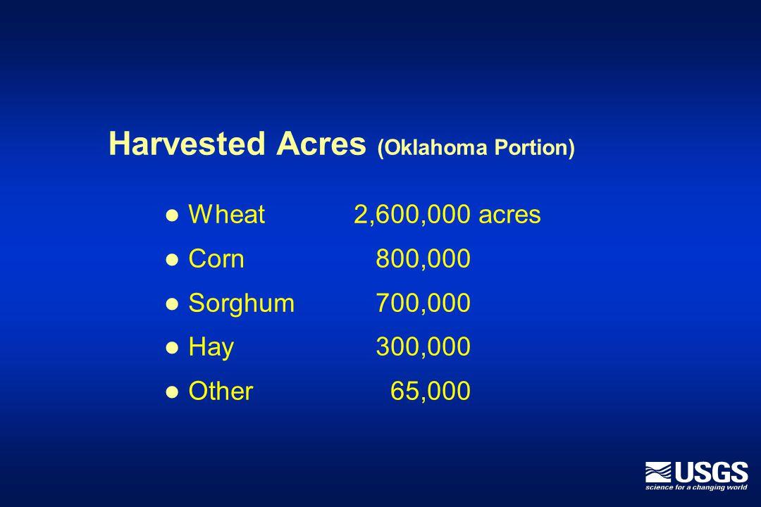 Livestock (Oklahoma High Plains) 620,000 cattle in 1992 750,000 cattle in 1997 20,000 swine in 1992 > 2,700,000 in 1999
