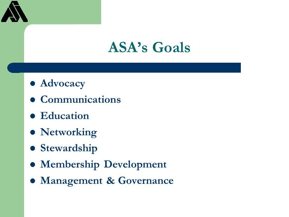 ASA's Goals Advocacy Communications Education Networking Stewardship Membership Development Management & Governance