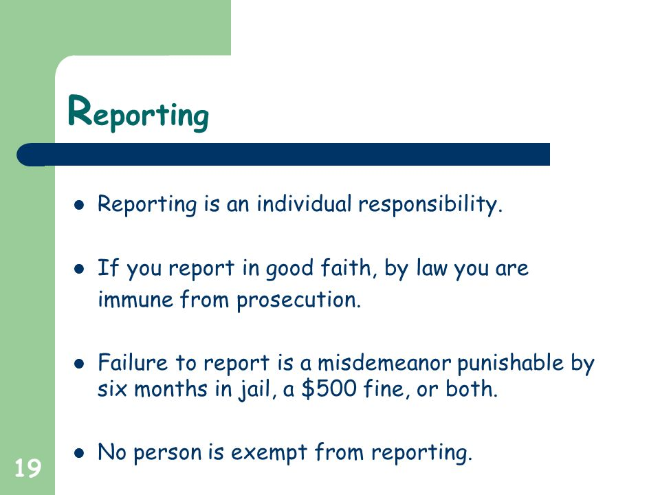 19 R eporting Reporting is an individual responsibility.