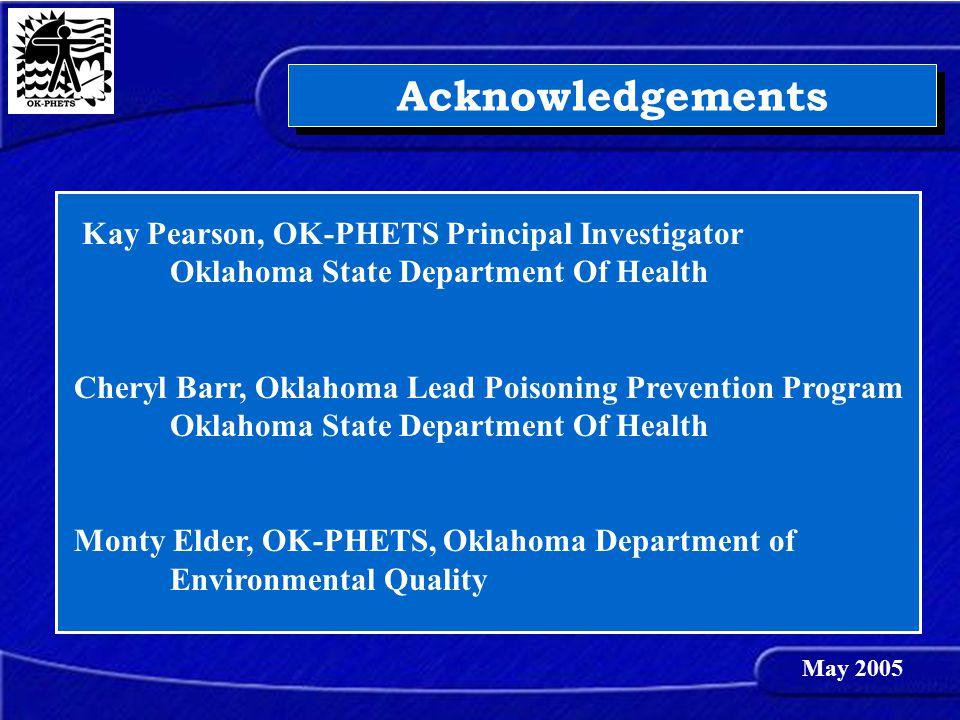 Acknowledgements Kay Pearson, OK-PHETS Principal Investigator Oklahoma State Department Of Health Cheryl Barr, Oklahoma Lead Poisoning Prevention Prog
