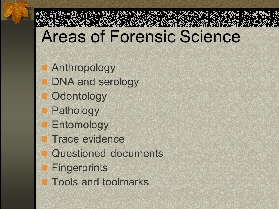 Areas of Forensic Science Anthropology DNA and serology Odontology Pathology Entomology Trace evidence Questioned documents Fingerprints Tools and toolmarks