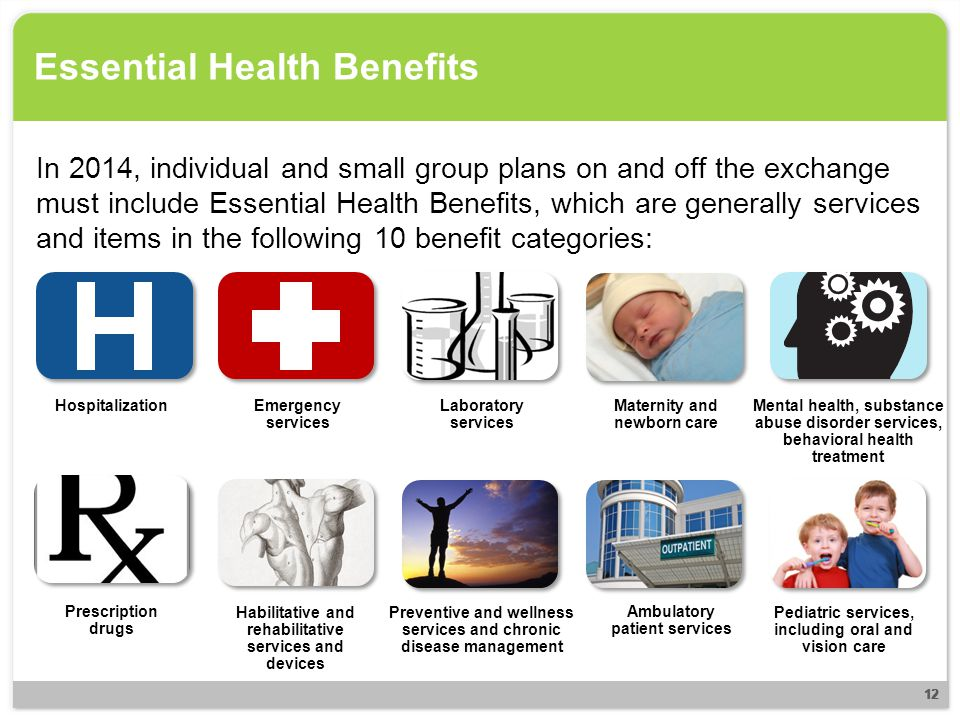 Essential Health Benefits In 2014, individual and small group plans on and off the exchange must include Essential Health Benefits, which are generall
