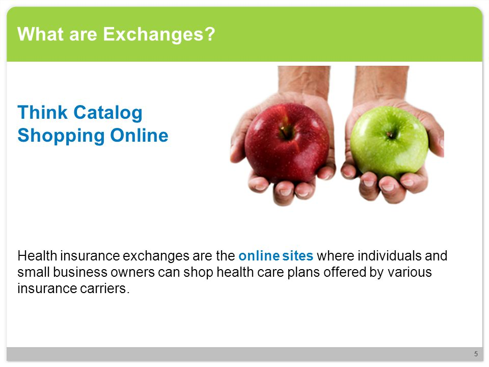What are Exchanges? Health insurance exchanges are the online sites where individuals and small business owners can shop health care plans offered by