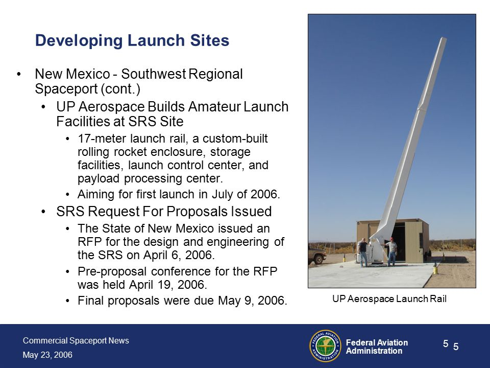Commercial Spaceport News May 23, 2006 Federal Aviation Administration 5 5 Developing Launch Sites New Mexico - Southwest Regional Spaceport (cont.) UP Aerospace Builds Amateur Launch Facilities at SRS Site 17-meter launch rail, a custom-built rolling rocket enclosure, storage facilities, launch control center, and payload processing center.