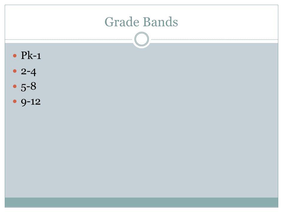 Grade Bands Pk-1 2-4 5-8 9-12