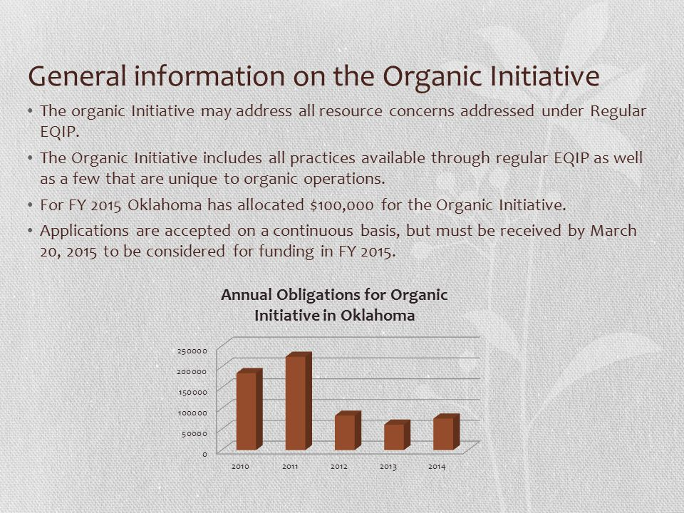 Information specific to the Organic Initiative Those individuals who are transitioning to organic and those who are certification exempt must develop and Organic system Plan and apply under the Organic Transition fund pool.