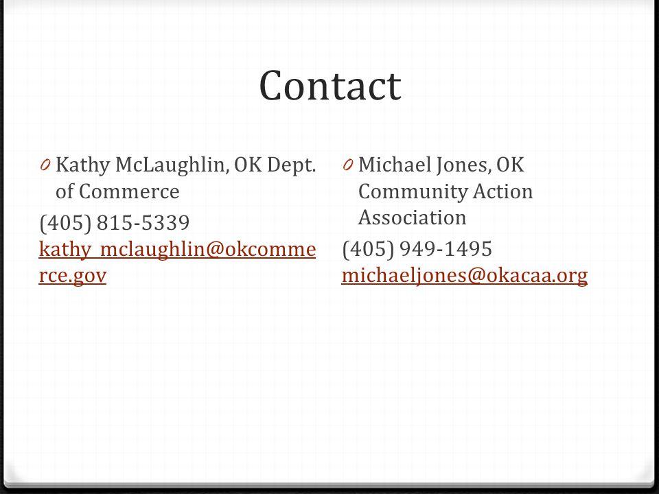 Contact 0 Kathy McLaughlin, OK Dept.