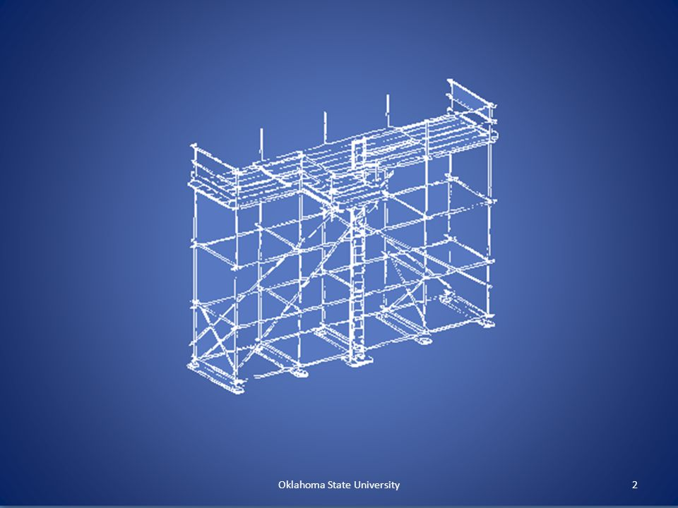 § 1926.451 General Requirements (con't.) (f) Use Never overload No shore or lean-to scaffolds Inspected by competent person Immediately removed or repaired, braced if found substandard No horizontal movement with employees unless approved Maintain clearance near powerlines Oklahoma State University12