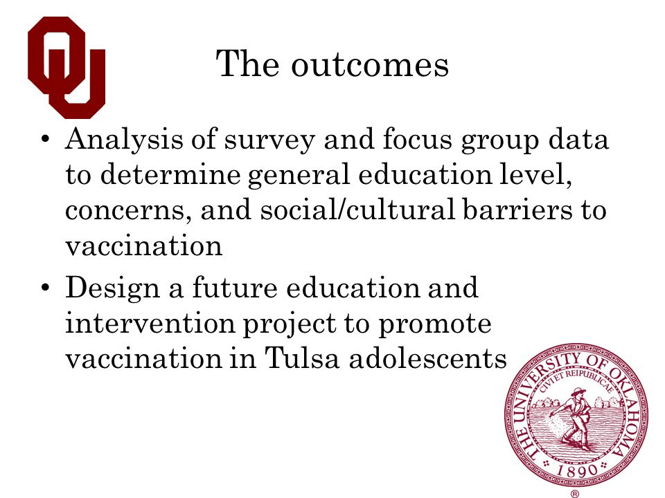 The outcomes Analysis of survey and focus group data to determine general education level, concerns, and social/cultural barriers to vaccination Desig