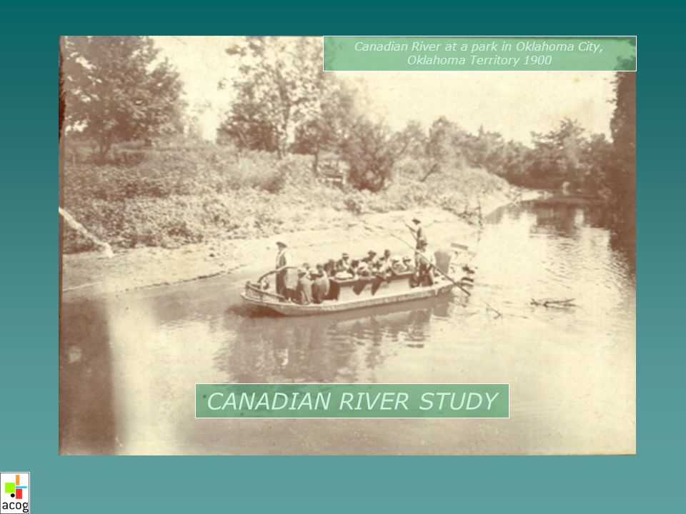 CANADIAN RIVER STUDY Canadian River at a park in Oklahoma City, Oklahoma Territory 1900