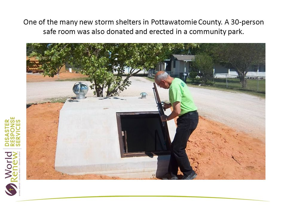 One of the many new storm shelters in Pottawatomie County.