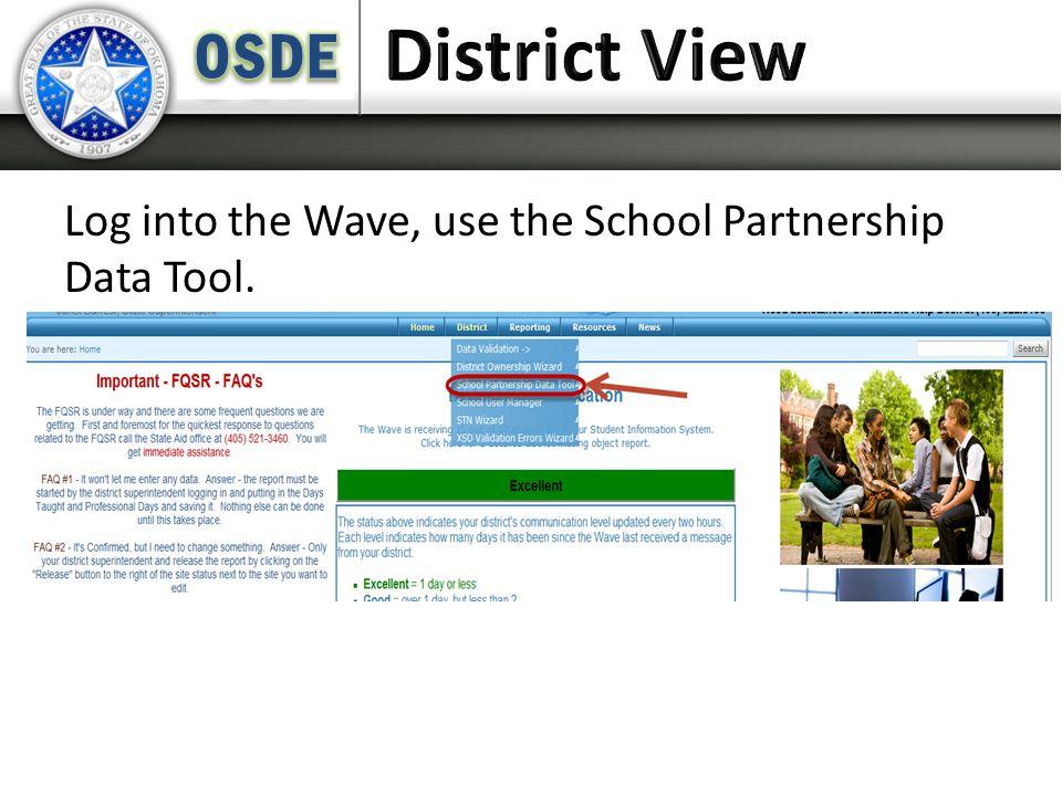 Log into the Wave, use the School Partnership Data Tool.