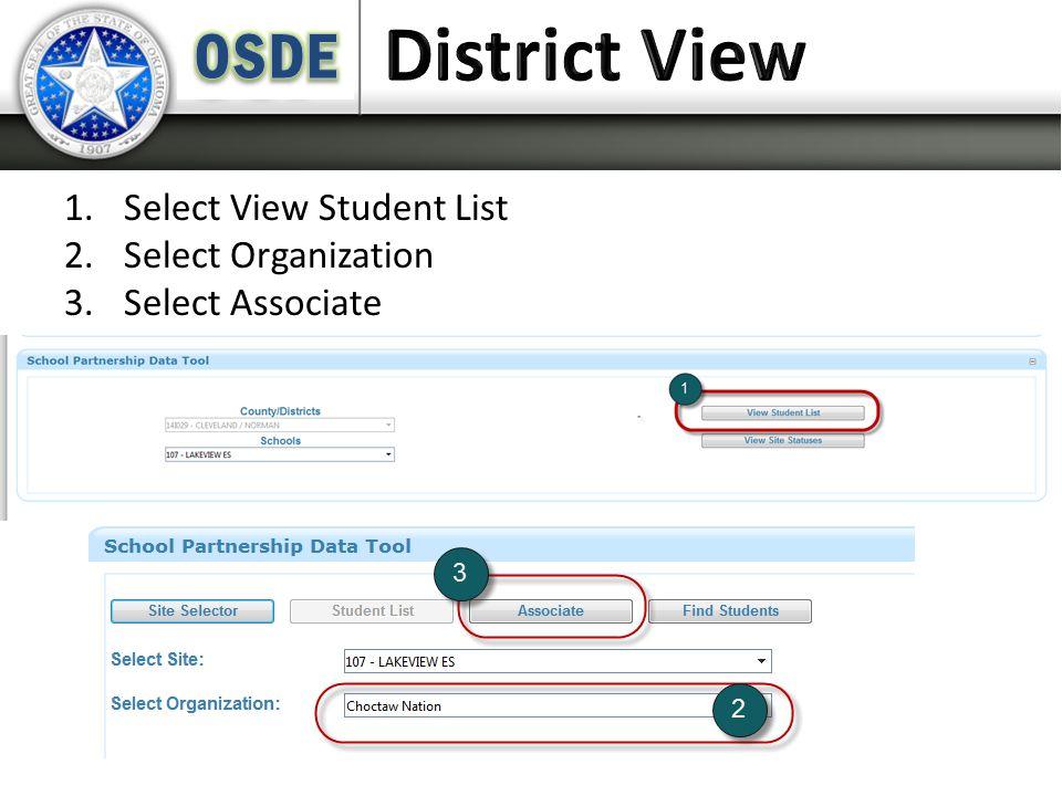 1.Select View Student List 2.Select Organization 3.Select Associate
