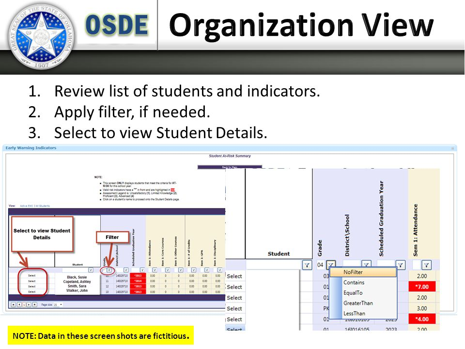 1.Review list of students and indicators. 2.Apply filter, if needed.