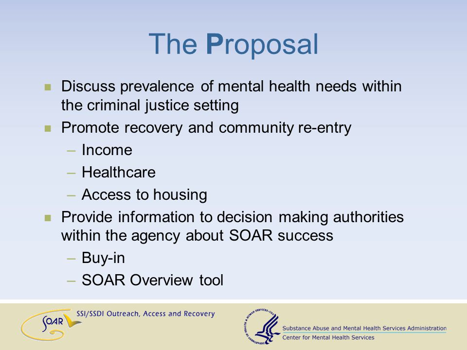 The Proposal Discuss prevalence of mental health needs within the criminal justice setting Promote recovery and community re-entry –Income –Healthcare –Access to housing Provide information to decision making authorities within the agency about SOAR success –Buy-in –SOAR Overview tool