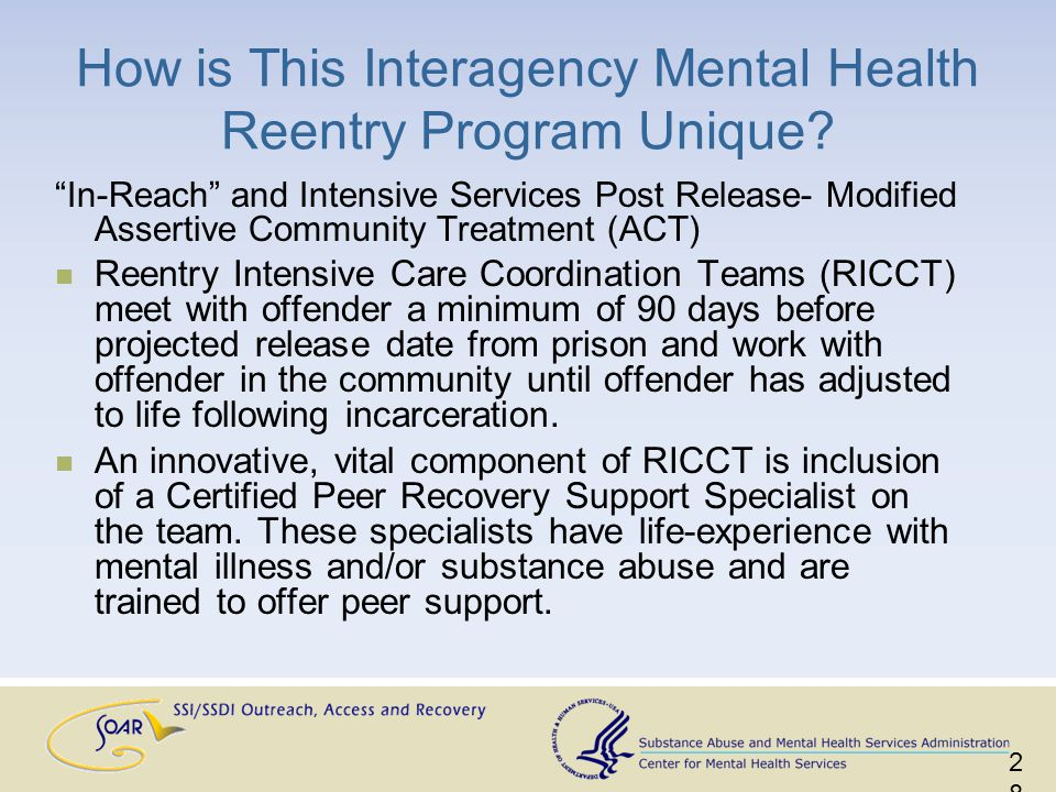 In-Reach and Intensive Services Post Release- Modified Assertive Community Treatment (ACT) Reentry Intensive Care Coordination Teams (RICCT) meet with offender a minimum of 90 days before projected release date from prison and work with offender in the community until offender has adjusted to life following incarceration.