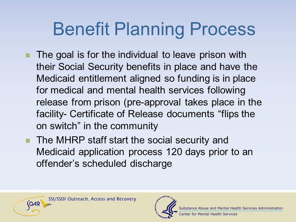 Benefit Planning Process The goal is for the individual to leave prison with their Social Security benefits in place and have the Medicaid entitlement aligned so funding is in place for medical and mental health services following release from prison (pre-approval takes place in the facility- Certificate of Release documents flips the on switch in the community The MHRP staff start the social security and Medicaid application process 120 days prior to an offender's scheduled discharge