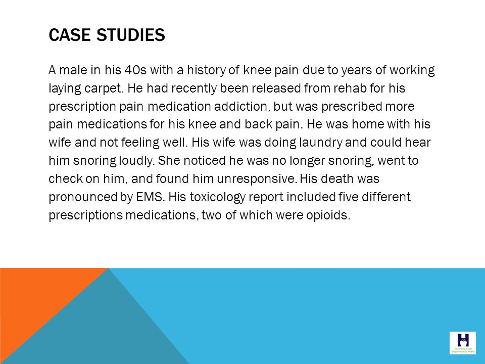 CASE STUDIES A male in his 40s with a history of knee pain due to years of working laying carpet.