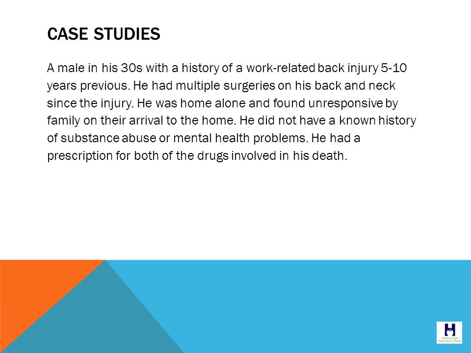 CASE STUDIES A male in his 30s with a history of a work-related back injury 5-10 years previous.