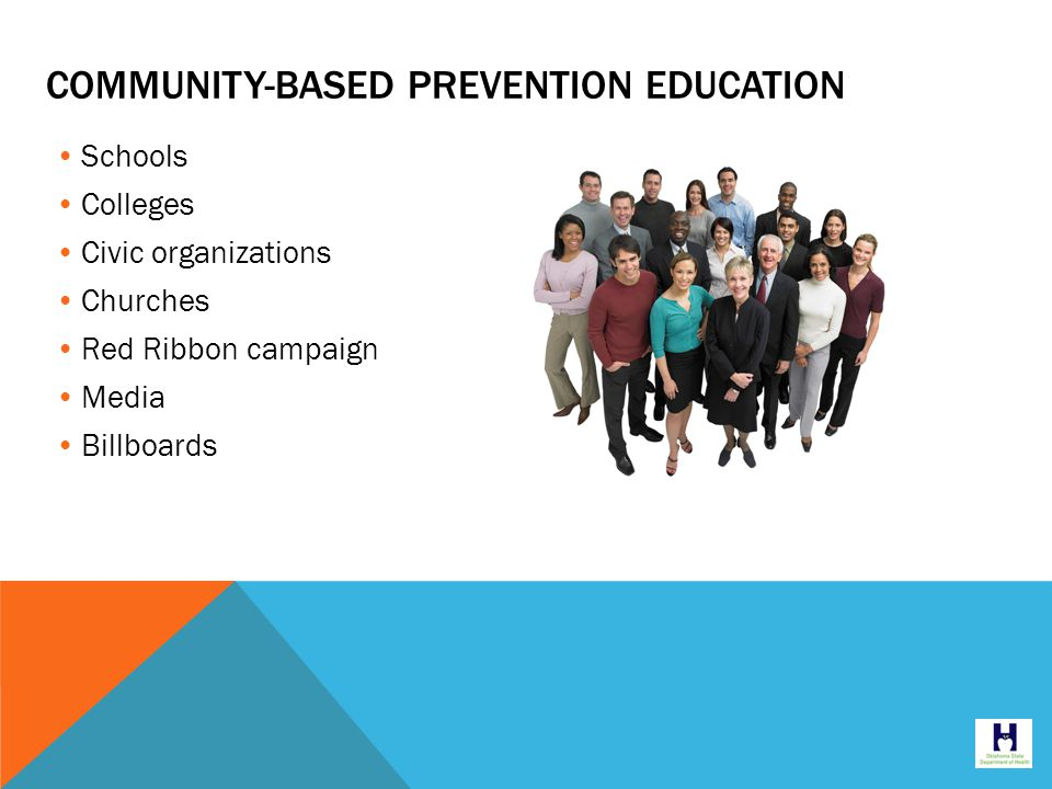 Schools Colleges Civic organizations Churches Red Ribbon campaign Media Billboards COMMUNITY-BASED PREVENTION EDUCATION