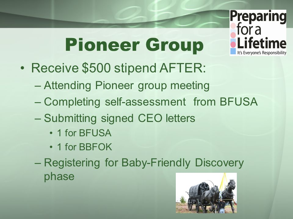 Pioneer Group Receive $500 stipend AFTER: –Attending Pioneer group meeting –Completing self-assessment from BFUSA –Submitting signed CEO letters 1 for BFUSA 1 for BBFOK –Registering for Baby-Friendly Discovery phase