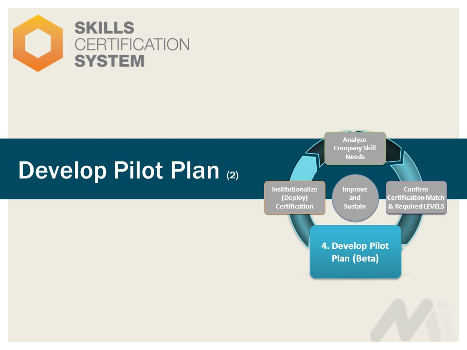 Develop Pilot Plan (2) Analyze Company Skill Needs 4.