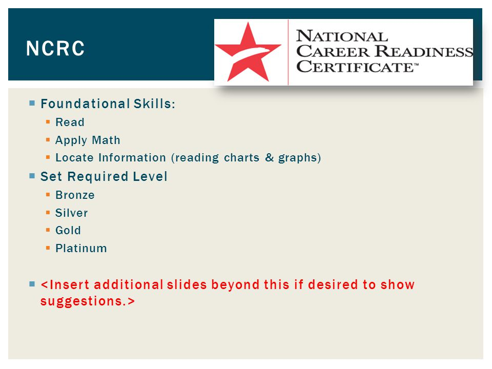  Foundational Skills:  Read  Apply Math  Locate Information (reading charts & graphs)  Set Required Level  Bronze  Silver  Gold  Platinum  NCRC