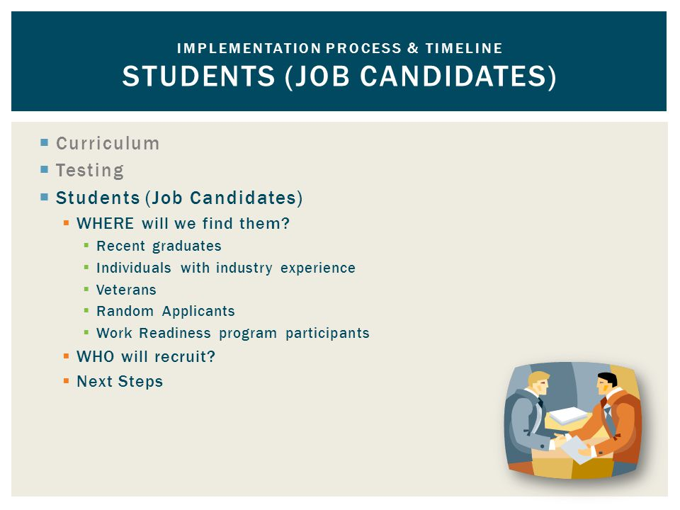  Curriculum  Testing  Students (Job Candidates)  WHERE will we find them.