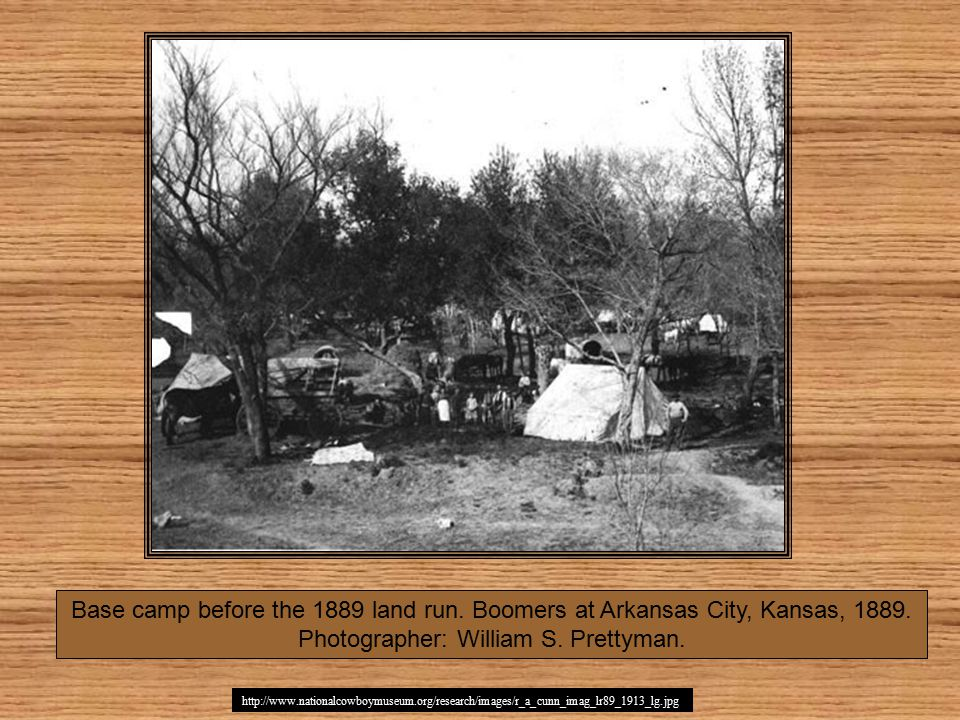 http://www.nationalcowboymuseum.org/research/images/r_a_cunn_imag_lr89_1913_lg.jpg Base camp before the 1889 land run.