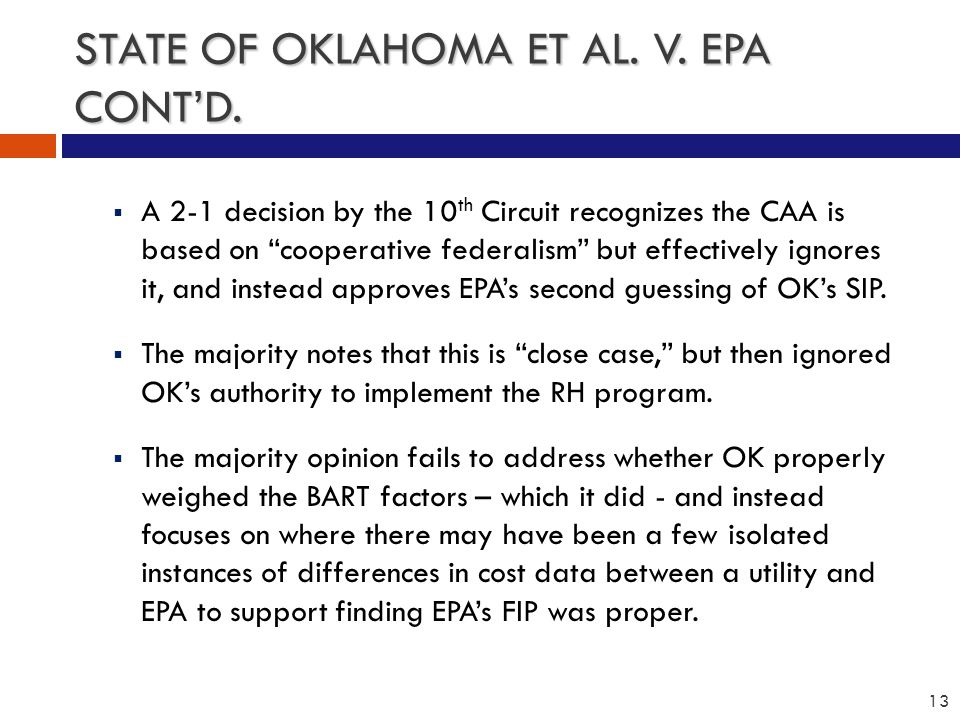 STATE OF OKLAHOMA ET AL. V. EPA CONT'D.