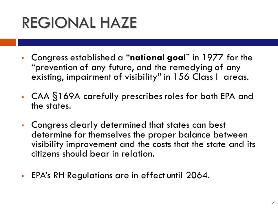 LEGAL CONTEXT FOR REGIONAL HAZE PLANS American Corn Growers et al.