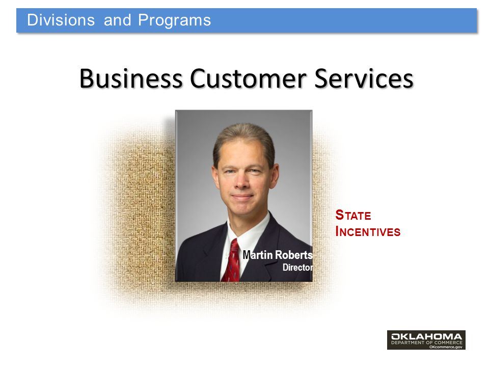 Divisions and Programs Business Customer Services S TATE I NCENTIVES Martin Roberts Director