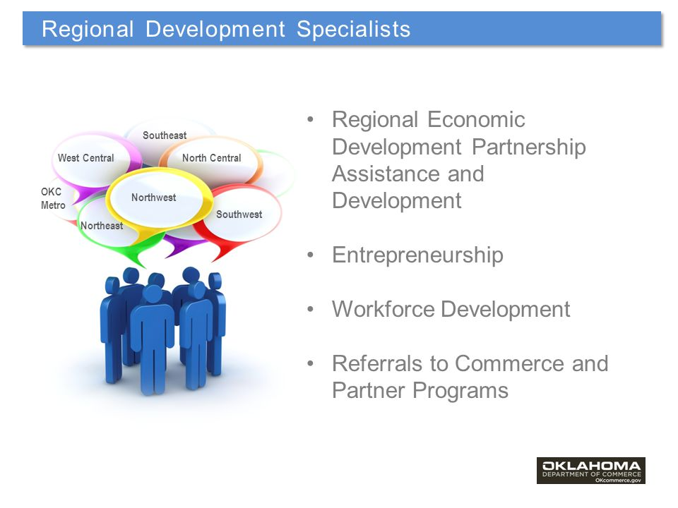 Regional Economic Development Partnership Assistance and Development Entrepreneurship Workforce Development Referrals to Commerce and Partner Programs Northwest Southwest North CentralWest Central Southeast OKC Metro Northeast Regional Development Specialists