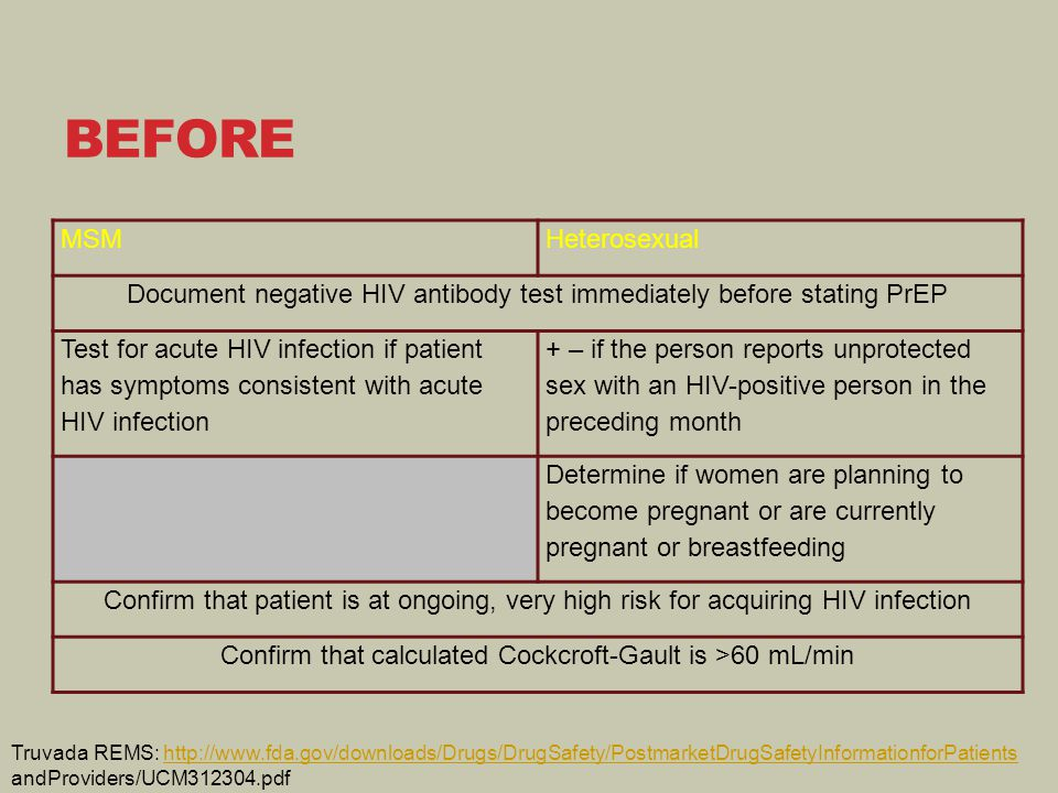 BEFORE MSMHeterosexual Document negative HIV antibody test immediately before stating PrEP Test for acute HIV infection if patient has symptoms consistent with acute HIV infection + – if the person reports unprotected sex with an HIV-positive person in the preceding month Determine if women are planning to become pregnant or are currently pregnant or breastfeeding Confirm that patient is at ongoing, very high risk for acquiring HIV infection Confirm that calculated Cockcroft-Gault is >60 mL/min Truvada REMS: http://www.fda.gov/downloads/Drugs/DrugSafety/PostmarketDrugSafetyInformationforPatientshttp://www.fda.gov/downloads/Drugs/DrugSafety/PostmarketDrugSafetyInformationforPatients andProviders/UCM312304.pdf