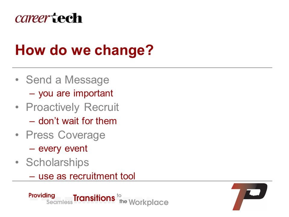How do we change? Send a Message –you are important Proactively Recruit –don't wait for them Press Coverage –every event Scholarships –use as recruitm