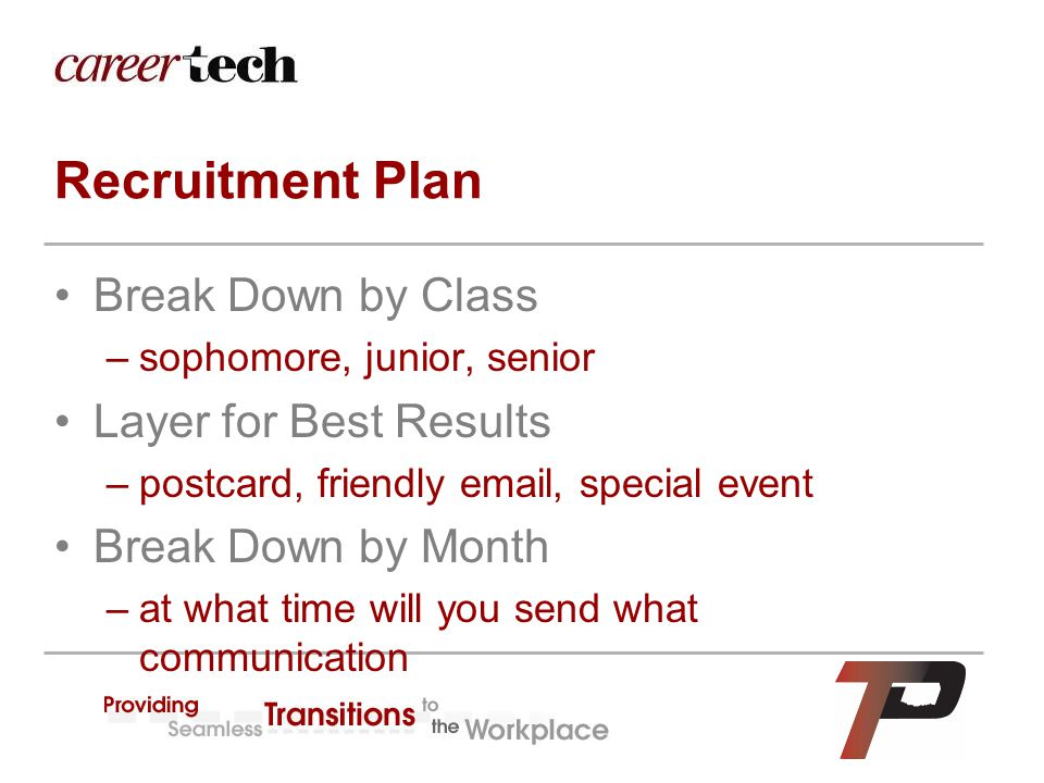 Recruitment Plan Break Down by Class –sophomore, junior, senior Layer for Best Results –postcard, friendly email, special event Break Down by Month –a
