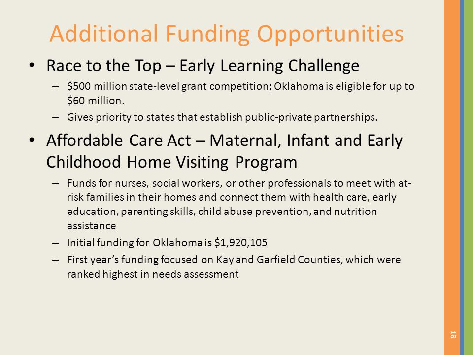 Additional Funding Opportunities Race to the Top – Early Learning Challenge – $500 million state-level grant competition; Oklahoma is eligible for up