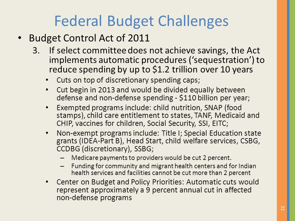 Federal Budget Challenges Budget Control Act of 2011 3.If select committee does not achieve savings, the Act implements automatic procedures ('sequest