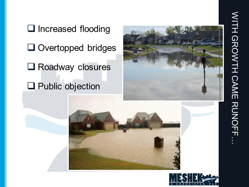 WITH GROWTH CAME RUNOFF…  Increased flooding  Overtopped bridges  Roadway closures  Public objection