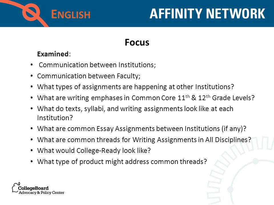 E NGLISH Examined: Communication between Institutions; Communication between Faculty; What types of assignments are happening at other Institutions.