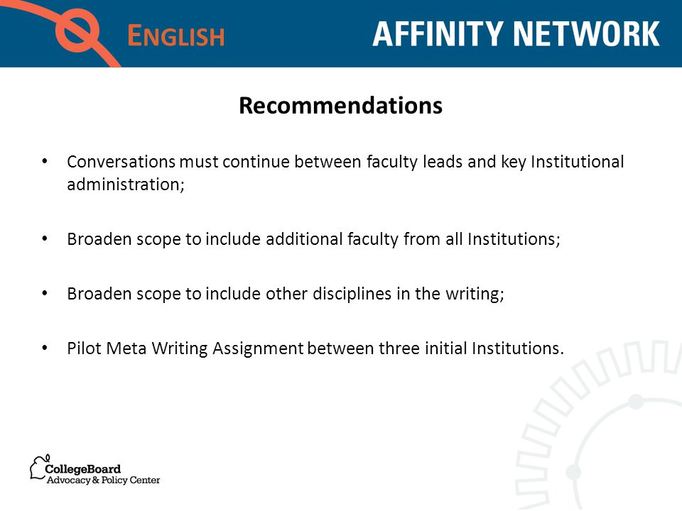 E NGLISH Conversations must continue between faculty leads and key Institutional administration; Broaden scope to include additional faculty from all Institutions; Broaden scope to include other disciplines in the writing; Pilot Meta Writing Assignment between three initial Institutions.