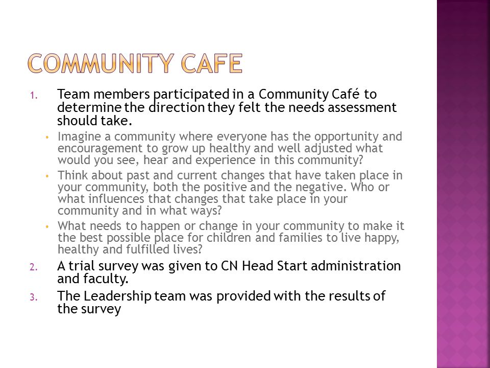 1. Team members participated in a Community Café to determine the direction they felt the needs assessment should take. Imagine a community where ever