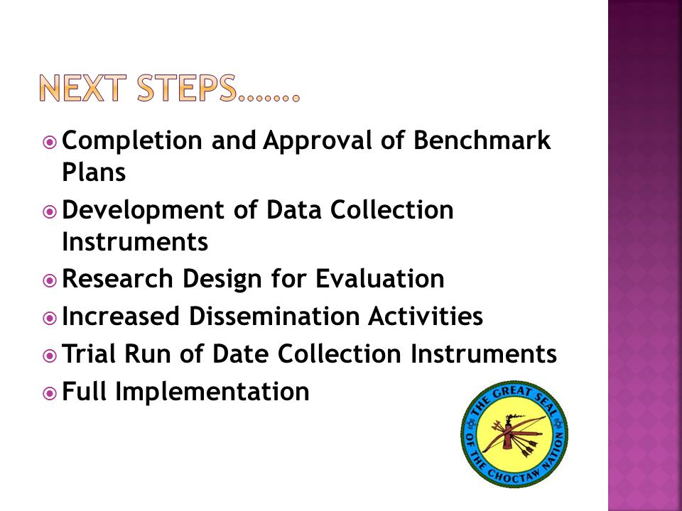  Completion and Approval of Benchmark Plans  Development of Data Collection Instruments  Research Design for Evaluation  Increased Dissemination Activities  Trial Run of Date Collection Instruments  Full Implementation