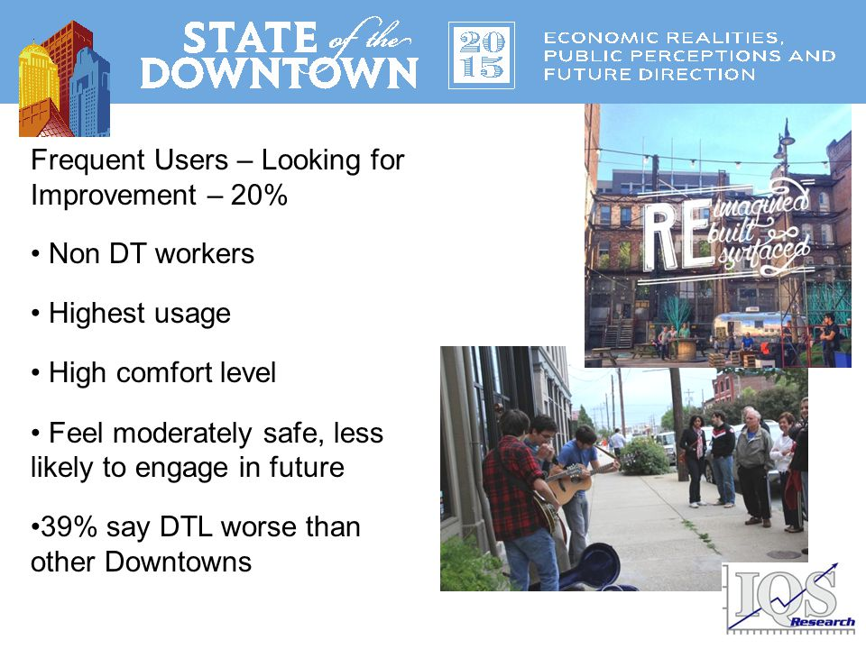 Frequent Users – Looking for Improvement – 20% Non DT workers Highest usage High comfort level Feel moderately safe, less likely to engage in future 39% say DTL worse than other Downtowns