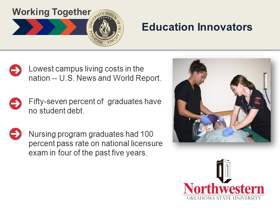 Working Together Education Innovators Lowest campus living costs in the nation -- U.S.