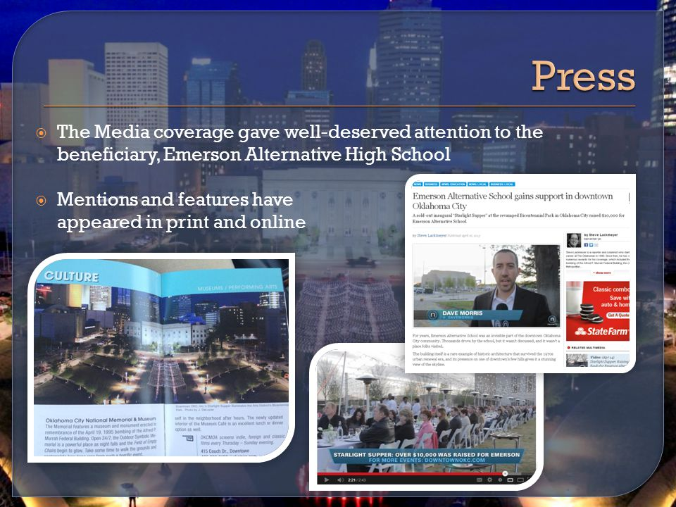  The Media coverage gave well-deserved attention to the beneficiary, Emerson Alternative High School  Mentions and features have appeared in print and online