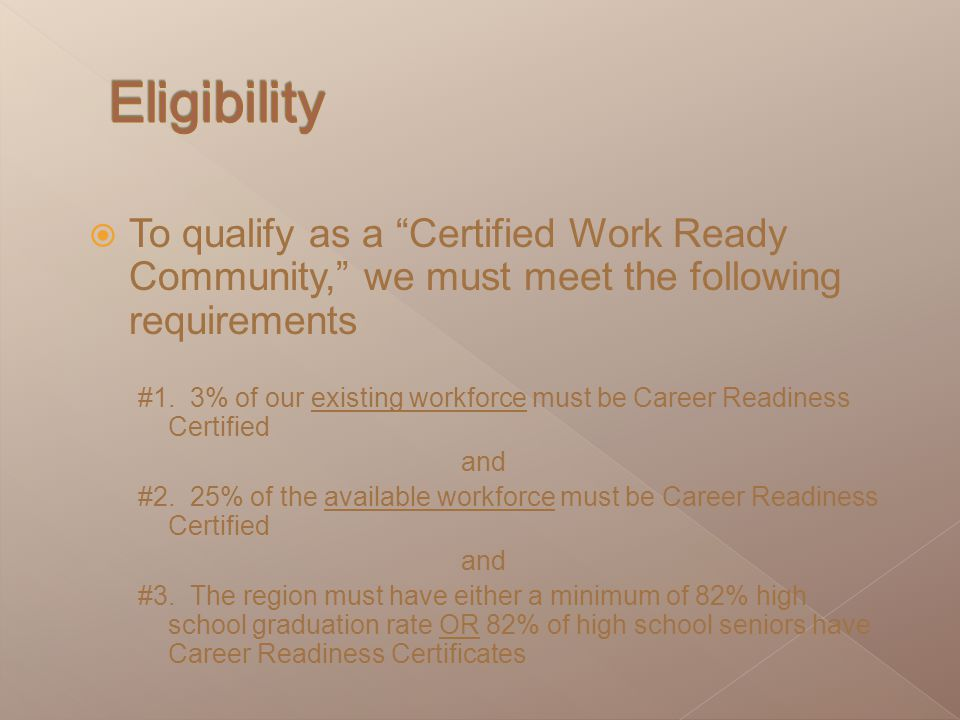  To qualify as a Certified Work Ready Community, we must meet the following requirements #1.