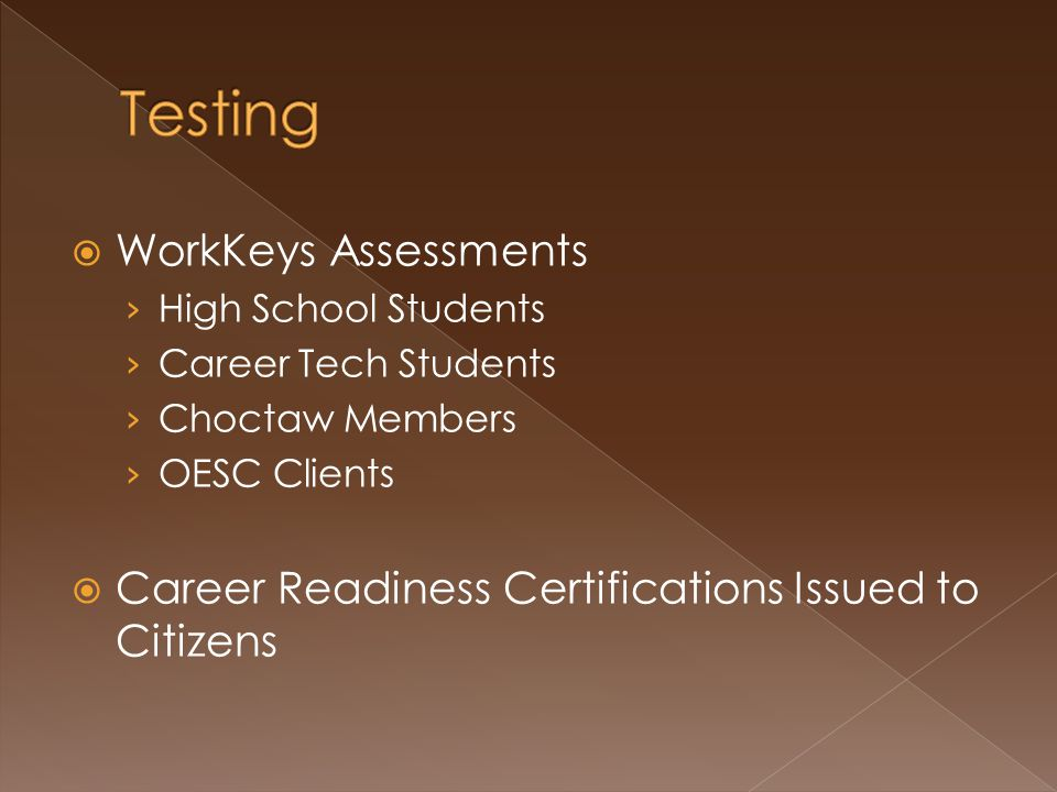  WorkKeys Assessments › High School Students › Career Tech Students › Choctaw Members › OESC Clients  Career Readiness Certifications Issued to Citizens